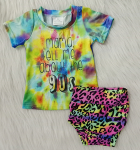 Лидер продаж, Летний стиль для девочек, бутик, Детские баммеры, галстук, краситель и шаровары с печатным рисунком, комплекты одежды для детей...