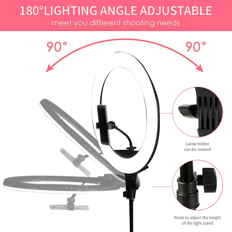 H564f15f8a5dd4fb18cddd5c0ad7cbc745 WalkingWay 18 inch LED Ring Light with Tripod Dimmable Photographic Lighting Studio Video light for tik tok Makeup Youtube Live