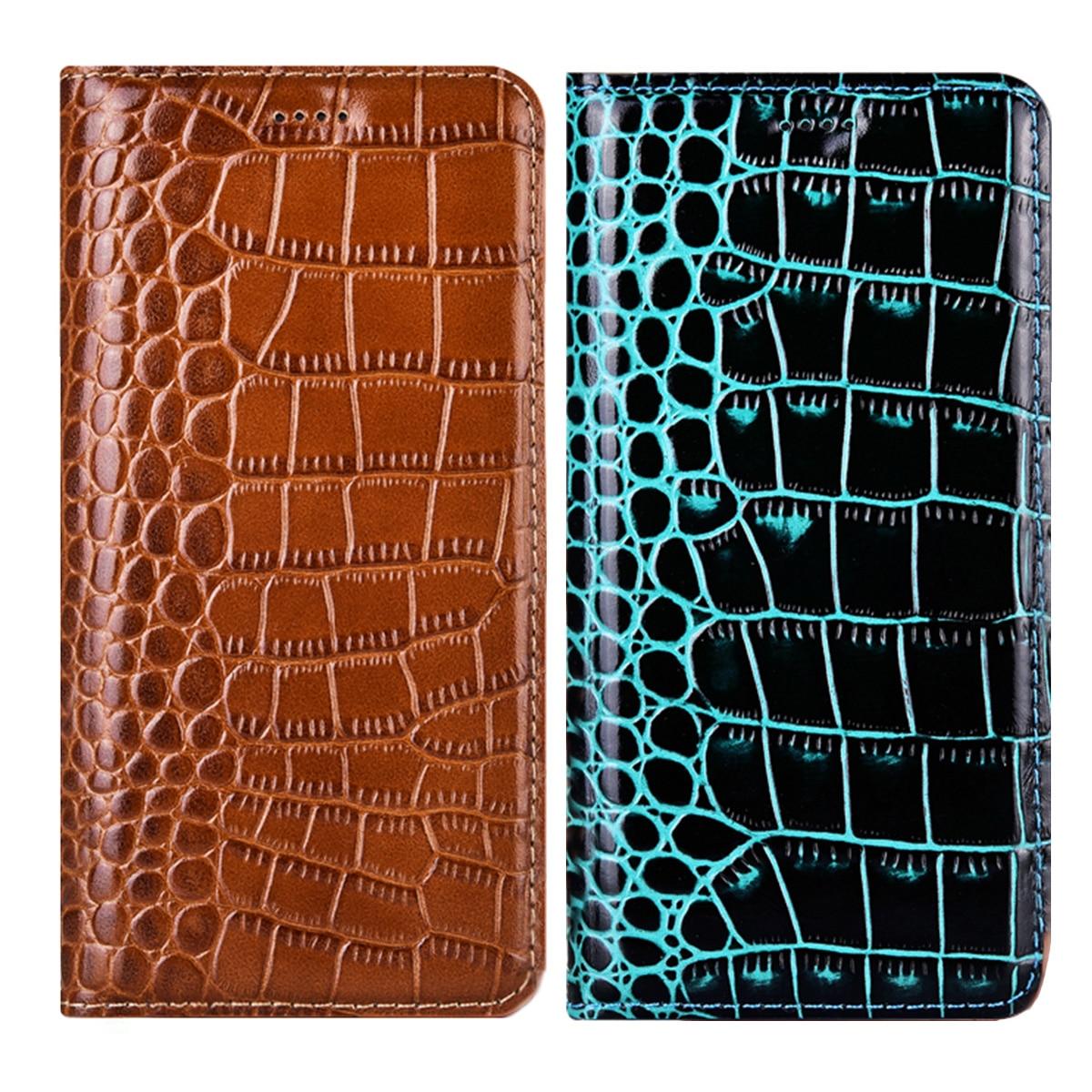 Funda de piel genuina de cocodrilo para Samsung Galaxy A50, A70, A30, A40 S, A10S, A20S, A50S, A70S, A51, S71, M10, M20 S, funda protectora para negocios
