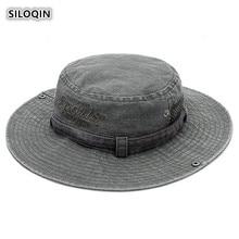 SILOQIN Summer Autumn Men Cotton Fashion Bucket Hat Wind Rope Fixed Sombrero Leisure Tourism Sunscreen Panama Fishing Cap Gorras