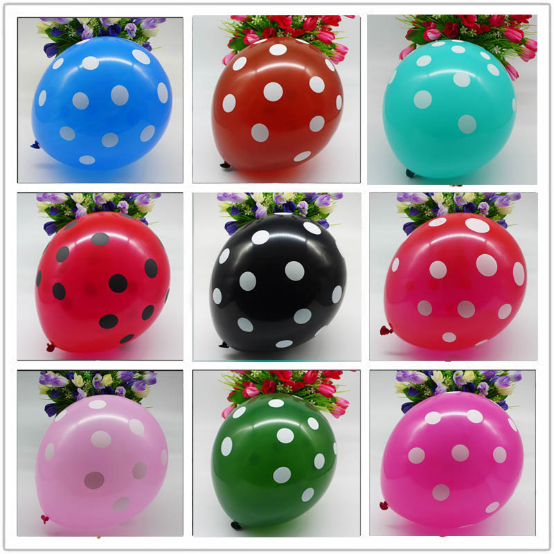 12 шт., латексные воздушные шары в горошек