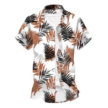 New Fashion Summer Hawaiian Shirt Men Short Sleeve Shirts Style Plant Pattern Slim Fitted Casual Streetwear