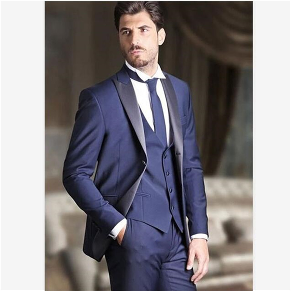 New Classic Men's Suit Smolking Noivo Terno Slim Fit Easculino Evening Suits For Men Blue Dinner Party Prom Groom Tuxedos Grooms