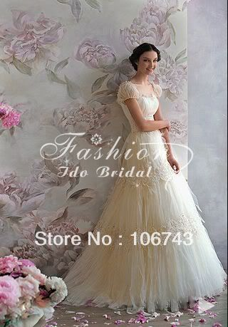 Free Shipping 2018 Bridal Sash Belt Lace A-line White/Ivory Ball Gown Custom Short Sleeve Gowns Mother Of The Bride Dresses