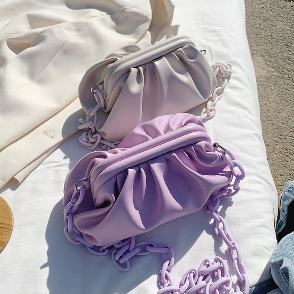 Elegant Female Chain Tote Bag 2020 New High Quality Soft PU Leather Women's Designer Handbag Solid Color Shoulder Messenger Bag