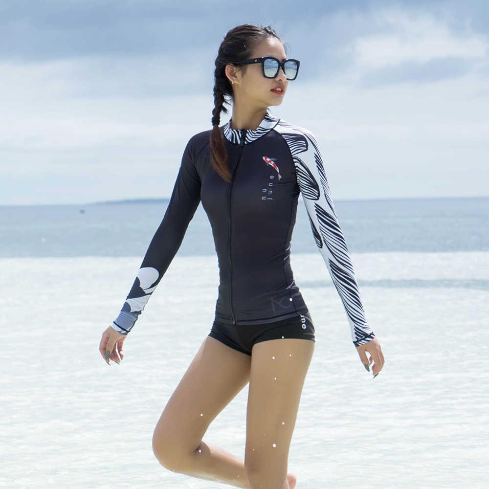 نو-يونيو طقم سباحة حريمي طفح الحرس طويلة الأكمام ملابس السباحة UPF 50 + أسود زيبر الرياضة لباس سباحة تصفح Rashguard
