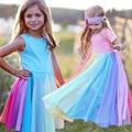 2020 весеннее платье для девочек, Новое поступление, детское платье Пастельной радуги, хлопковое платье принцессы длиной до щиколотки для девочек, повседневная одежда - фото