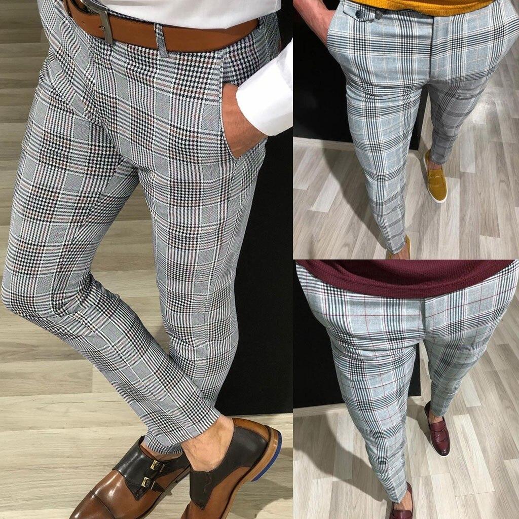 Hot Sale Men's Clothing Pants Fashion Men Male Casual Plaid Print Drawstring Elastic Waist Long Pants Trousers Drop Shipping