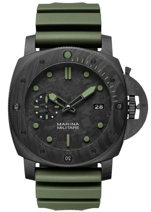 Luxury Brand New Men Automatic Mechanical Black Stainless Steel Titanium Green Rubber Carbotech Luminous 3 Days Power 47MM Watch