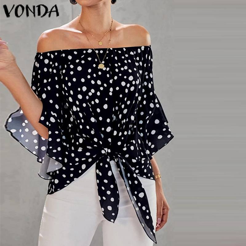 Tunic Women Blouses 2020 Summer Sexy Off Shoulder Dot Printed Shirts Plus Size Blusas Female Bohemian Beach Tops Party Shirts