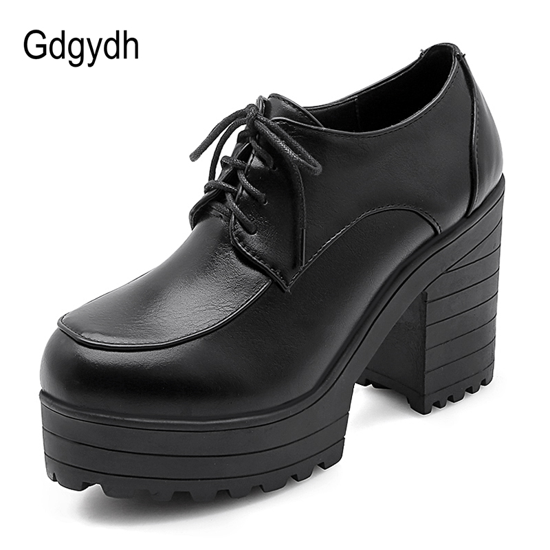 Gdgydh Lace Up Chunky Shoes Platform Women Black Leather Spring Office Lady Pumps Woman High Heels Comfortable Large Size Cheap
