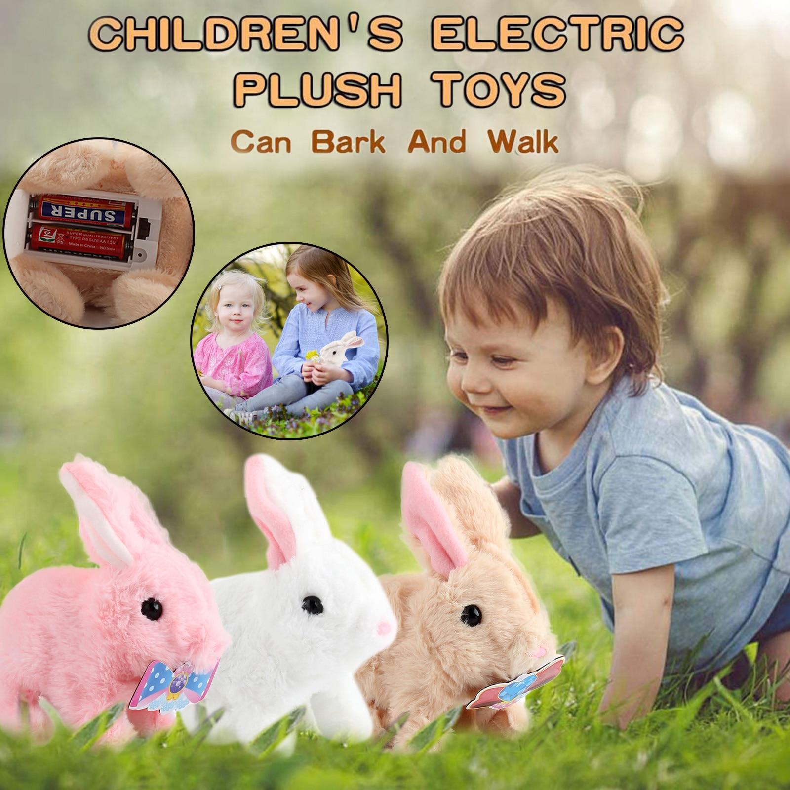 Simulation Stuffed-Animals Electric Smart Interactive-D7-Christmas Plush Walking Rabbit