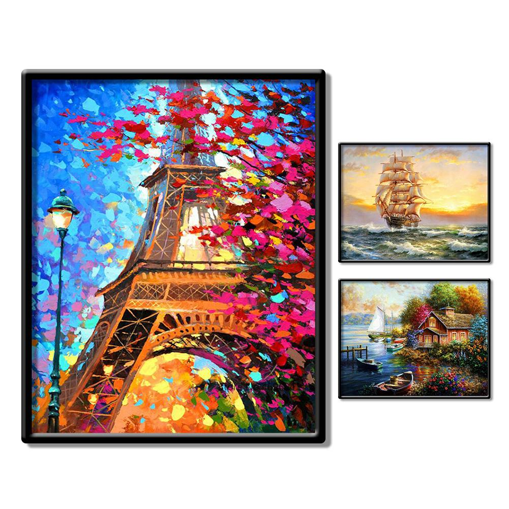 Sail Boat Tower Landscape Picture DIY Wall Oil Painting By Numbers Home Decor