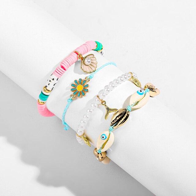Bohemian Multilayer Big Beads Crystal Evil Eyes Bracelets for Women Fashion Statement Shell Charm Bracelet Boho Jewelry Gift 5