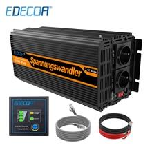 EDECOA power inverter 2000w 4000w DC 24V AC 220V modified sine wave inverter off grid inverter with remote control USD ports