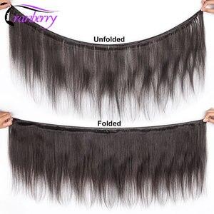 Image 2 - Kızılcık saç brezilyalı düz saç kapatma ile 3 demetleri Remy brezilyalı insan saç demetleri ile kapatma orta kahverengi dantel