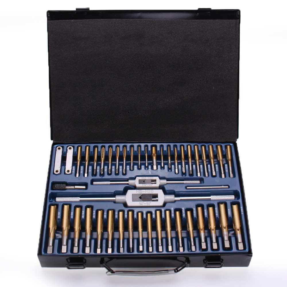 86 pièces en acier au tungstène placage titane filetage métrique SAE ensemble de taraud et de matrices ensemble d'outils métriques