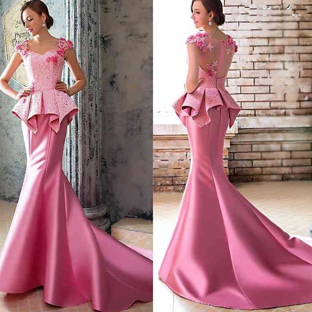 Custom Made 2018 Sweetheart Cap Sleeve Pink Mermaid Evening With Flower Appliques Peplum Lace Prom Mother Of The Bride Dresses