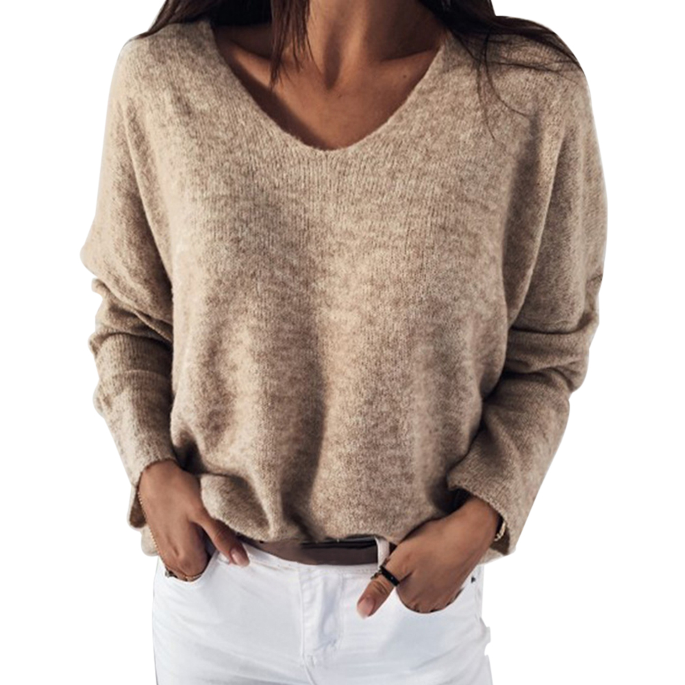 OEAK 2XL Sexy Hollow Out V-neck Knitted Sweater Women Autumn Long Sleeve Candy Basic Top Loose Ladies Sweaters And Pullovers