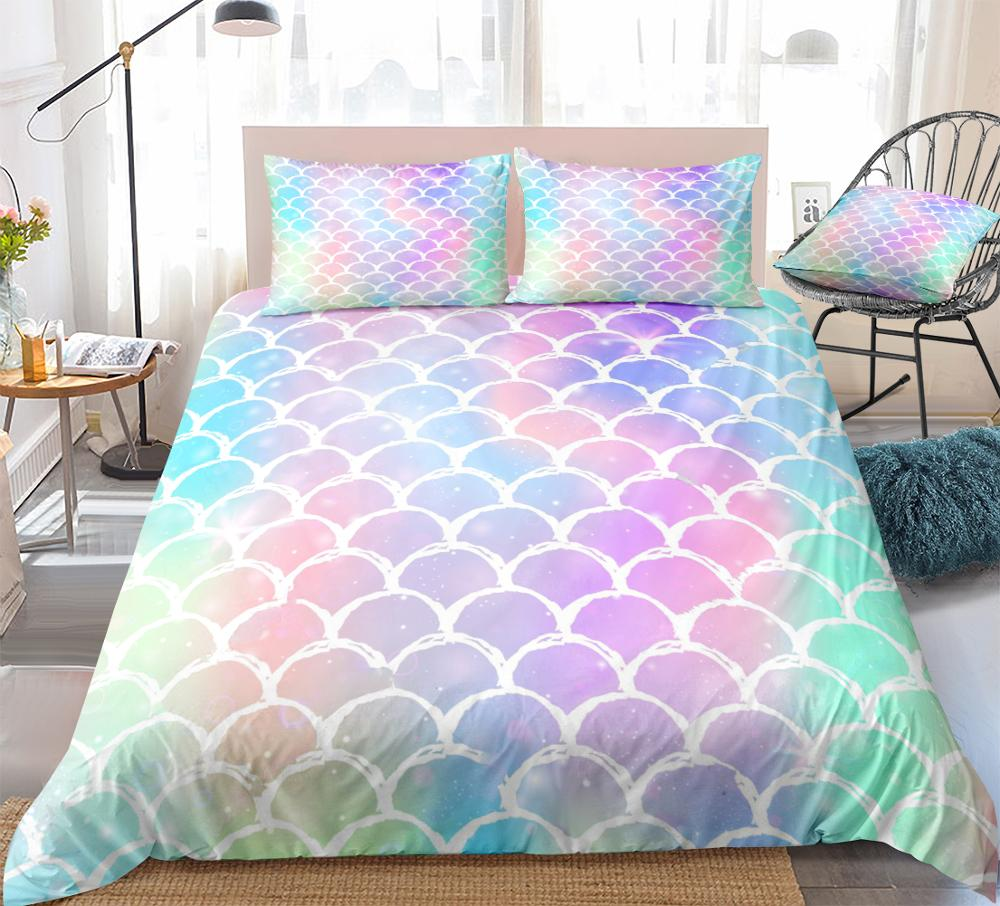 3pcs Fish Scales Bedding Colorful Mermaid Scale Bedding Rainbow Scales with Sparkles Stars Quilt Cover Queen