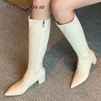Meotina Knee-High Boots Women Shoes Pointed Toe Chunky Heels Long Boots  Zip High Heel Fashion Boots Lady Autumn Winter Beige 43 winter fashion woman boots sexy knee high boots gold rivets round toe botas high heels long boots women casual shoes