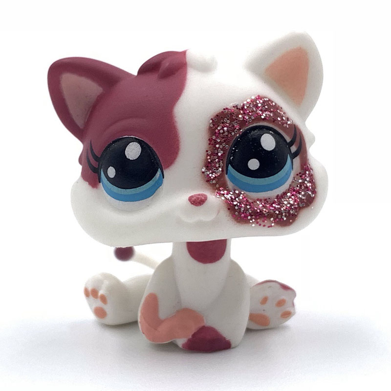 Lovely pet shop toys standing Short Hair <font><b>cat</b></font> MINI <font><b>Cat</b></font> #2291 <font><b>baby</b></font> <font><b>cat</b></font> with flower eyes cute pink kitty for girls collect image