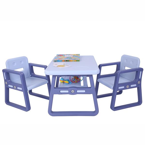 Blue Color Kids Table And Chairs Set For Little Kid Children Play Study Reading Table With 2 Seats SKU31637677