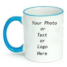 Coffee Mugs Color Handle Ceramic Cup Custom Picture DIY Photo Couple Friends Family Creative Mug Gift