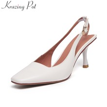 Krazing Pot genuine leather shallow brand square toe back strap women pumps high heels wedding party solid slingback shoes l05(China)