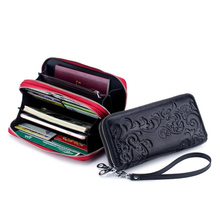 Western Cow Leather RFID Print Women Wallet Fashion Genuine Passprot Double Zipper Long Purse