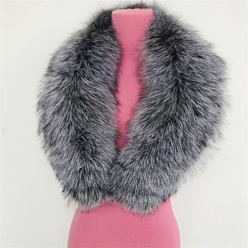 JKP Scarf Real Silver Fox Fur Collar for Women Winter Women's Scarf Coat Parka Accessories Natural Silver Fox Fur Collar image