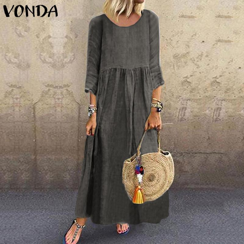 Women Dress VONDA Vintage 3/4 Sleeve Swing Party Maxi Long Dress 2020 Summer Sundress Bohemian Holiday Vestidos Robe Femme S-5XL