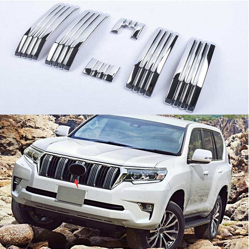 ABS Chrome 6pcs Front Grille Grill Shinny Decoration Trims For Toyota Land Cruiser Prado 2018 FJ150 Accessories|Racing Grills| |  - title=