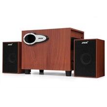 3.5MM Audio Jack Computer Wooden Speaker USB Desktop Game Speaker Multi-functional Stereo Subwoofer Support AUX TF Card U Stick