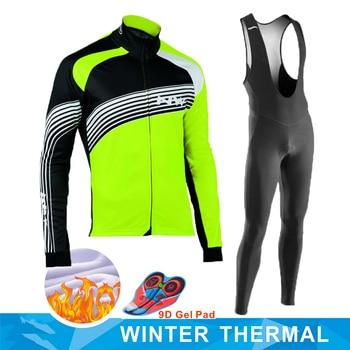 STRAVA-Ropa de Ciclismo para Invierno, Jersey térmico y polar, conjunto de manga...