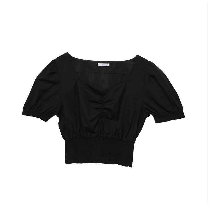 2020Vคอเซ็กซี่เสื้อยืดแฟชั่นผู้หญิงพัฟแขนเสื้อแขนสั้นผู้หญิงTops Slim PLUSขนาดสีดำสีขาวTeesผู้หญิงเสื้อผ้า