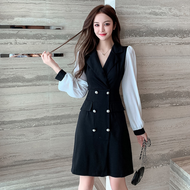 COIGARSAM Office Lady Full Sleeve Women one-piece dress korean New Spring Solid Notched Double Breasted Dresses Black 862 1
