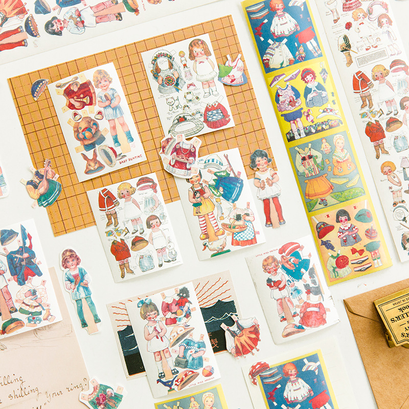 2Pcs Cartoon Doll Dressup Series Retro Characters Washi Masking Tape Stickers Scrapbooking Stationery Decorative Long Strip Tape