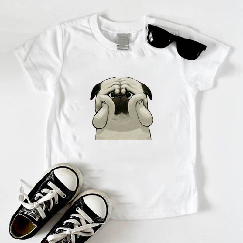 New Kids T Shirt Girls Boys <font><b>Tshirt</b></font> Cute Pug <font><b>Dog</b></font> Stree Wearing Headphones Baby Toddler Tops Tees Children T-shirts image