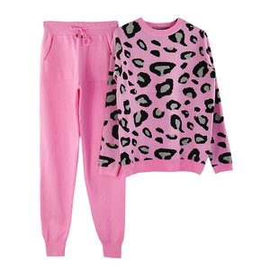 Image 3 - MVGIRLRU Autumn and Winter Women Suits Leopard  Knitted O Collor Pullover Sweater and Pants Two Piece Set