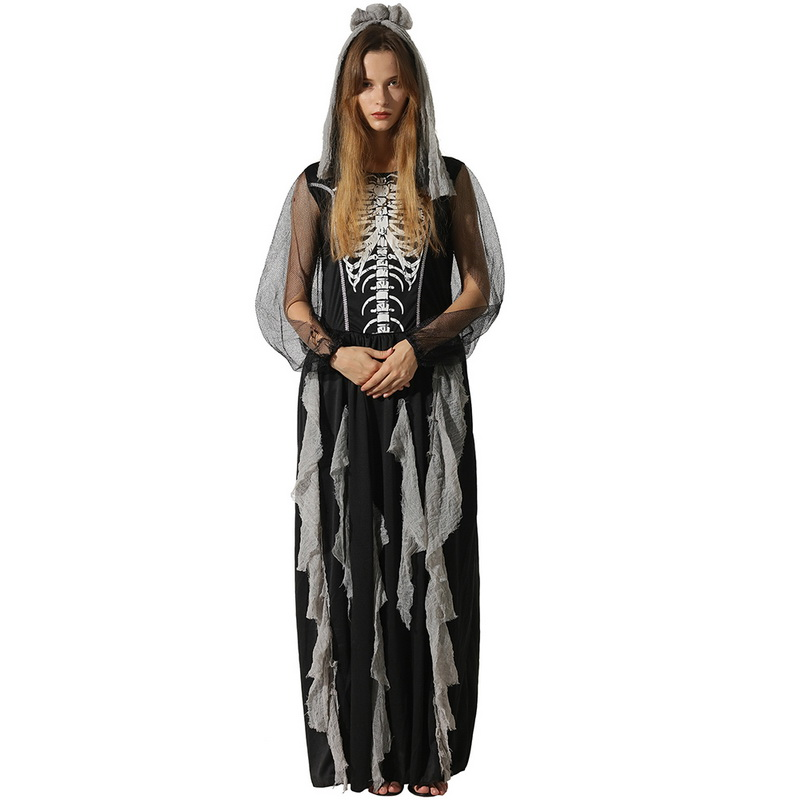 Ladies Long Skeleton Costume Adult Womens Halloween Fancy Maxi Dress Outfit