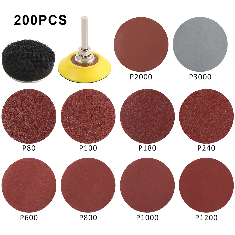 200pcs 80/180/240/800/1000/2000 Grits Sanding Disc Set 2inch 50mm+ Loop Sanding Pad With 3mm Shank For Polishing Cleaning Tools