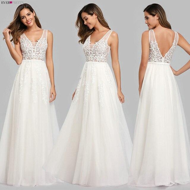 Prom Dresses Long 2020 Ever Pretty Elegant Long V-neck Tulle Lace Applique Sleeveless A-line Hot Selling Vestidos De Graduacion 2