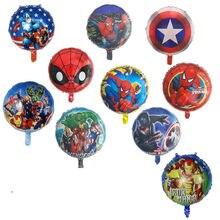 10 pçs aranha super homem de ferro capitão américa herói folha balões festa de aniversário decoração do chuveiro do bebê crianças brinquedos homem