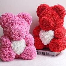 Venda quente 40cm urso de rosas flores artificiais casa festival de casamento decoração diy caixa de presente grinalda artesanato presente do dia de natal