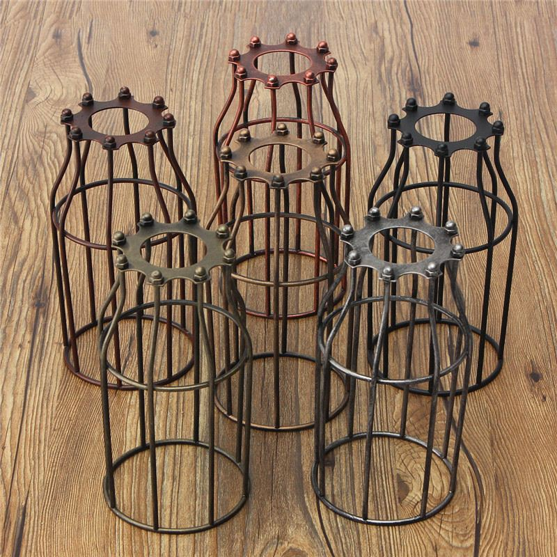 Retro Vintage Lamp Covers Pendant Chandelier Light Bulb Guard Wire Cage Bars Cafe Lamp Shades Industrial Ceiling Hanging Fitting