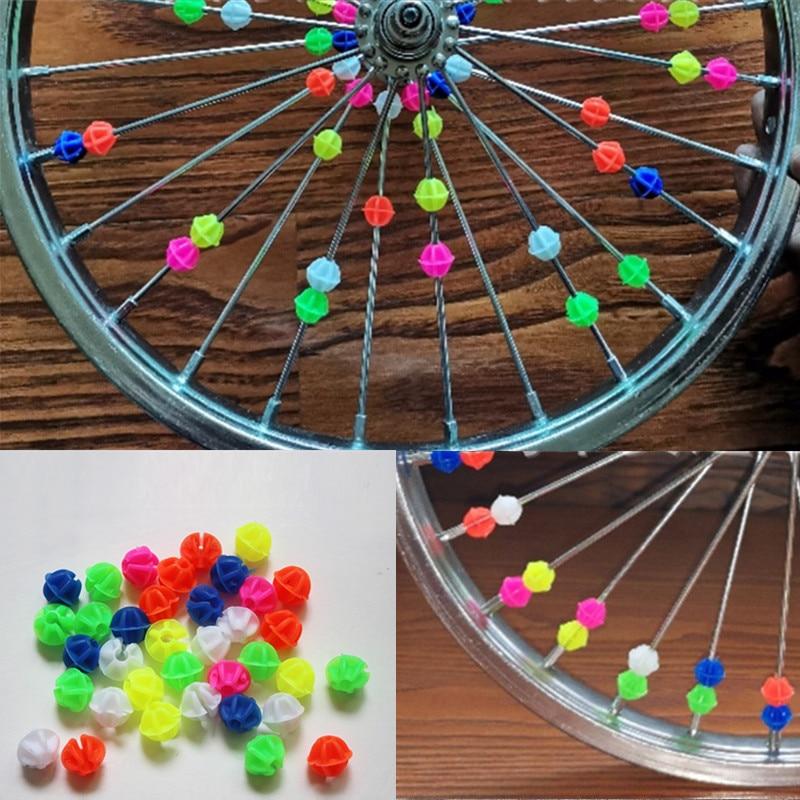Clearance Sale 36PCs Colorful Plastic Bicycle Spoke Decoration Beads Multi-color Love Heart Star Bike Wheel Spoke Accessories