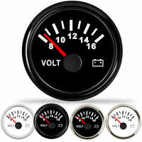 Boat Volt Meter Gauge Car Voltmeter 52mm fit Mairne Yacht Motorcycle Car Voltmeter Gauges 8-16 Volts With Red Backlight 9-32V