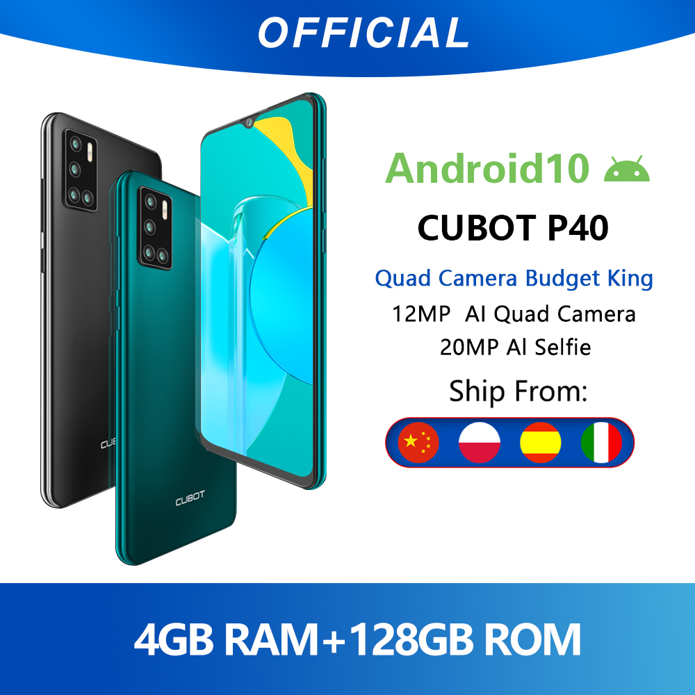 Cubot P40 cuádruple cámara trasera Smartphone NFC 4GB + 128GB 6,2 Inch 4200mAh batería Google Android 10 tarjeta SIM Dual teléfono móvil 4G LTE celular OTG|Teléfonos móviles| - AliExpress