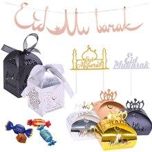 1 zestaw Banner Happy Eid Mubarak papieru Ramadan deser ciasto wykaszarki cukierki pudełka na prezenty dla islamska muzułmanin Eid DIY Party Deco dostarcza